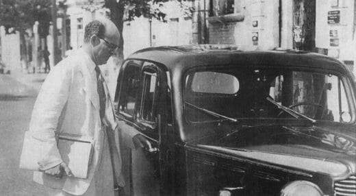 Noel 'Crab' Nethersole about to enter his vehicle in 1954